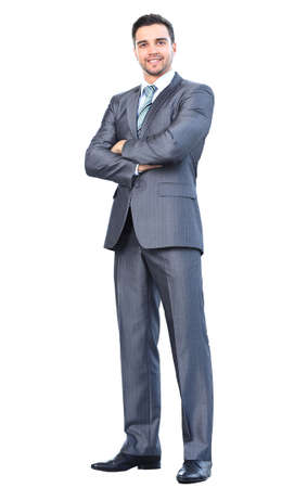 Full body portrait of young happy smiling cheerful business man Stock Photo