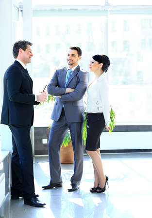 business woman standing: Businesspeople Having Meeting In Modern Office Stock Photo