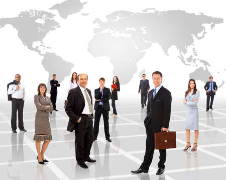 team leadership: Businessmen standing in front of an earth map  Stock Photo