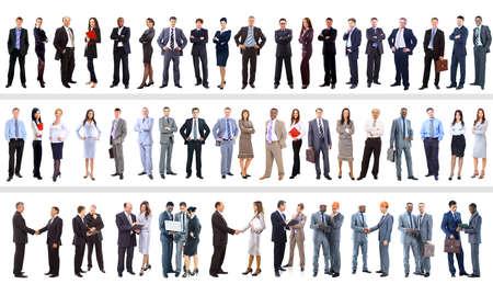 mucha gente: Conjunto de personas de negocios aislados en blanco