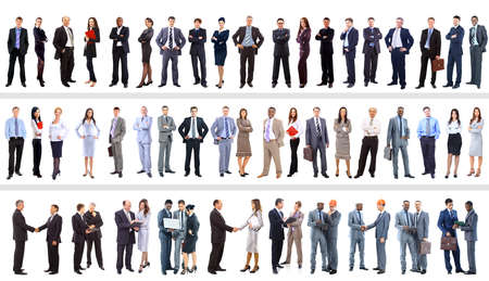 Set of business people isolated on white photo