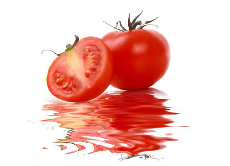 two ripe tomatoes with reflection photo