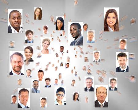 collage caras: un mont�n de retratos aislados de gente de negocios