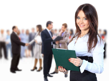 business woman leading her team isolated over a white background photo