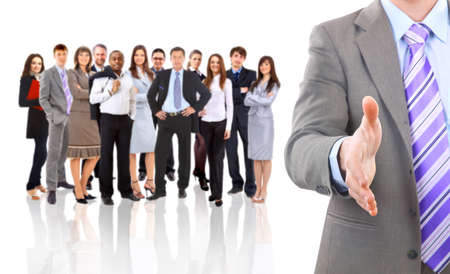 good service: business man with an open hand ready to seal a deal