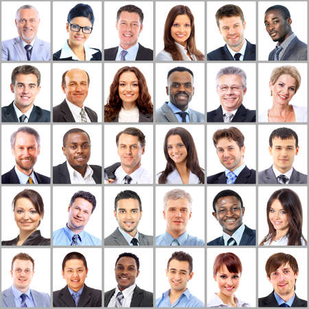 multiple image: Collection of portraits of business people Stock Photo