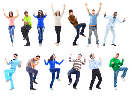 ležérní: Šťastní lidé, legrační. Samostatný nad bílým pozadím