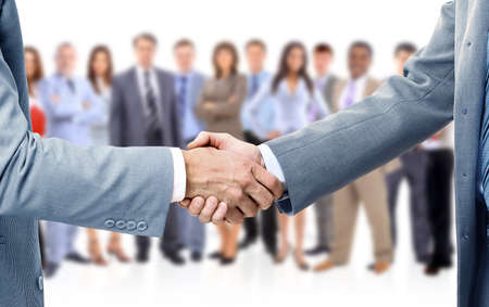 firm: handshake isolated on business