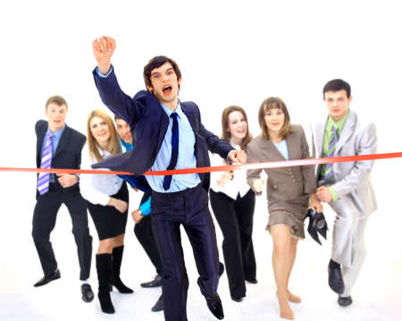 intention: Businesspeople crossing the finish line