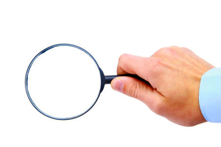 Magnifying Glass in hand  Standard-Bild