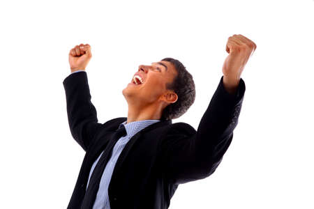 energetic people: One very happy energetic businessman with his arms raised