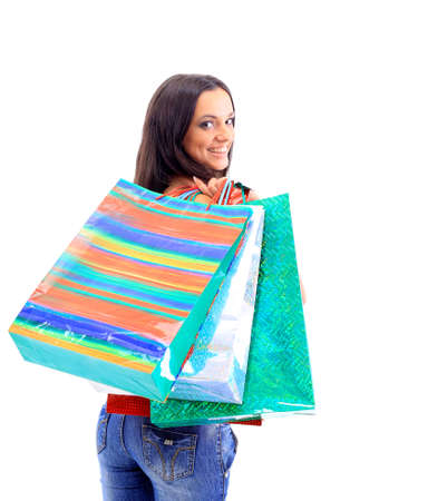 shoppingbag: Portrait of an young woman holding several shoppingbag