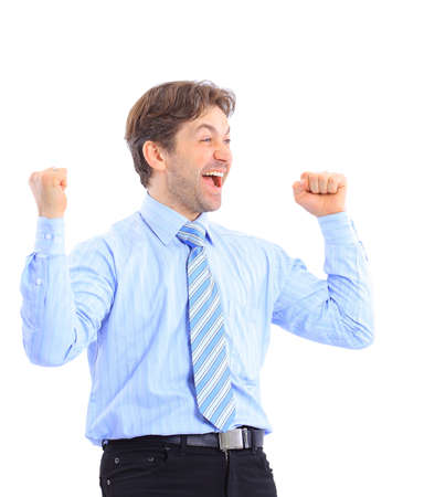 Happy business man with arms up isolated  photo