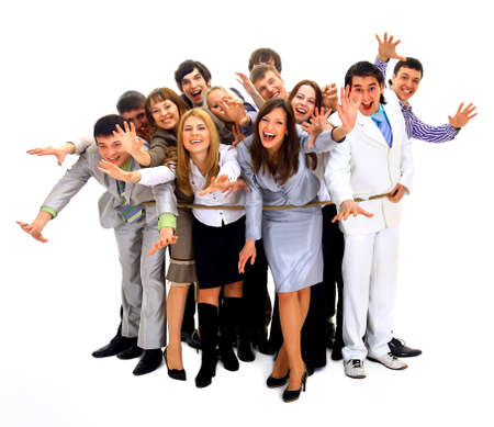 woman tied: Young business people tied up together against white background