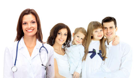 Smiling family medical doctor and young family photo