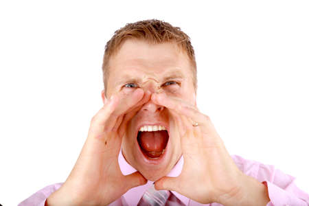 Closeup portrait of a young man screaming out loud on a white background  photo