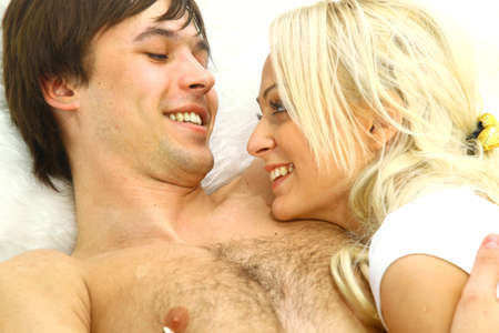 Close up portrait of a happy young couple