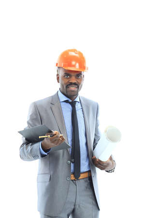 Confident ethnic architect wearing a hardhat against a white background photo