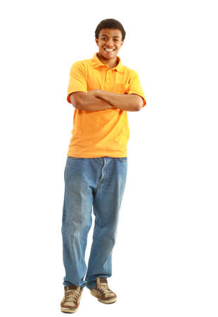 Natural Looking Smiling Young African American Male Model on Isolated Background  photo