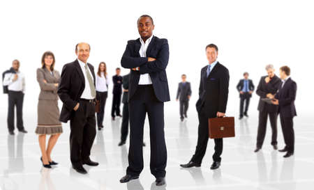 business man and his team isolated over a white backgroun  photo