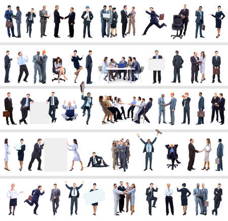 a person: collection of full length portraits of business people Stock Photo