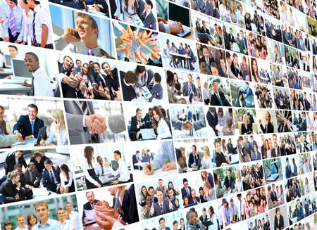 real time: Business collage Stock Photo