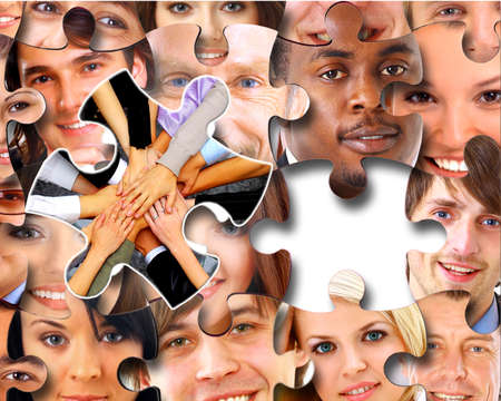 teaser: Group of business people in pieces of a puzzle  Stock Photo