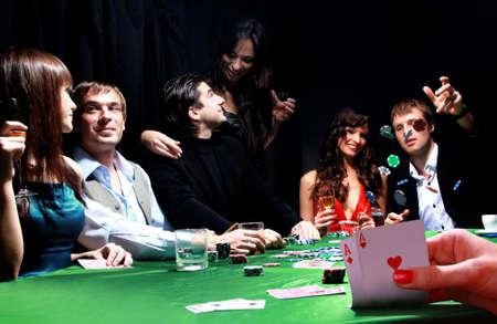 gruppo di giocatori di poker sinistre Archivio Fotografico