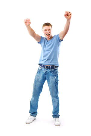 happy man celebrating his success isolated over a white background photo