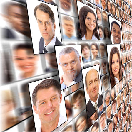 Many the isolated portraits of people  Stock Photo