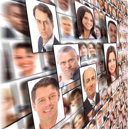 grupo de personas: Muchos de los retratos aislados de personas Foto de archivo