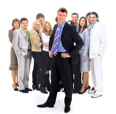 business man and his team isolated over a white background Stock Photo - 23259321