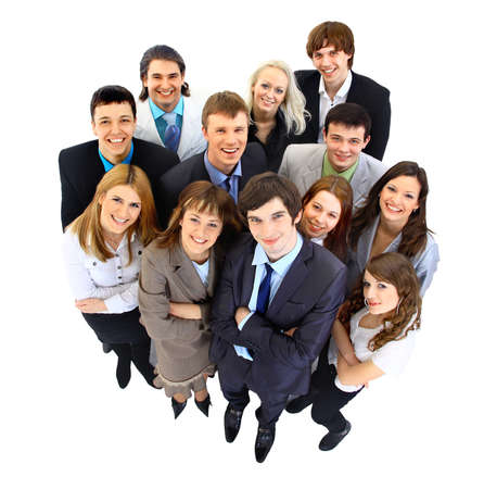 company employee: Large group of business people  Over white background