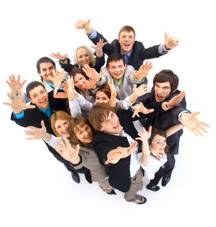 Large group of business people Over white background