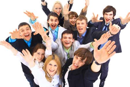 gl�ckliche menschen: Gro�e Gruppe von Gesch�ftsleuten In wei�em Hintergrund Lizenzfreie Bilder