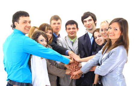 manos unidas: businessteam aislado en fondo blanco