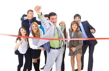 end of the line: Businesspeople crossing the finish line