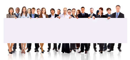a person: group of business people holding a banner ad isolated on white