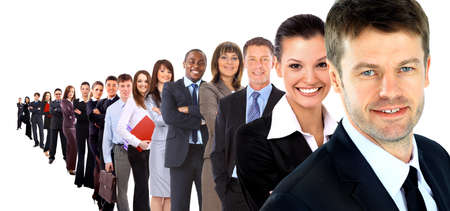 Business group in a row isolated over a white background photo