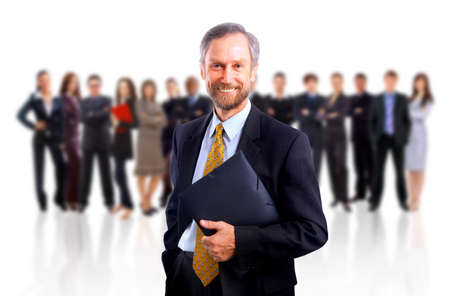 businessteam: business man and his team isolated over a white background  Stock Photo