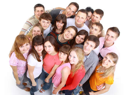 Top view portrait of happy men and women standing together and smiling  photo