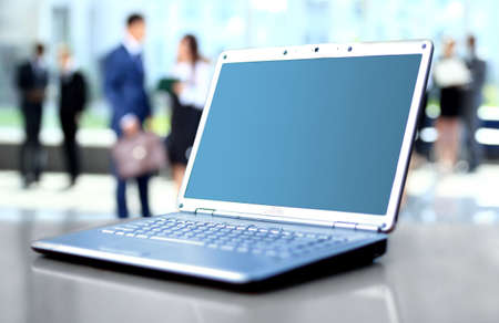laptop on office desk Stock Photo