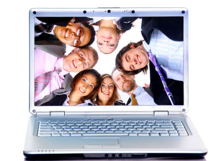 business-team in display laptops photo