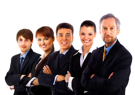 business man and his team isolated over a white background  Stock Photo - 23291200