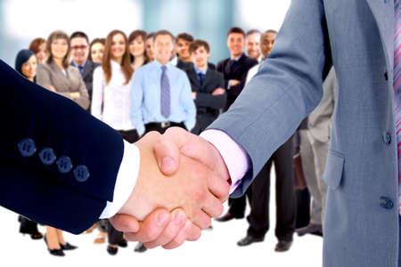business background: handshake isolated on business background