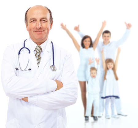Portrait of Doctor in the background of healthy happy family photo