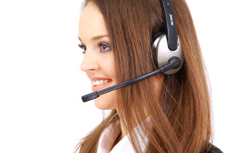 could: Woman wearing headset in office; could be receptionist