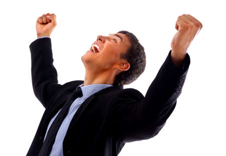 hooray: One very happy energetic businessman with his arms raised