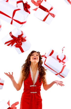 more similar images: Excited attractive woman with many gift boxes and bags