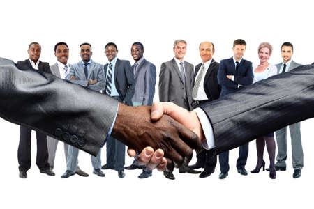African American businessman shaking hands with caucasian  photo